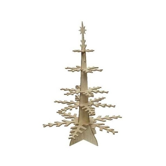 Kerst decoratie hout kerstboompje 80 cm