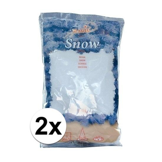 Kerstartikelen kunstsneeuw 4 liter in zak 2x stuks