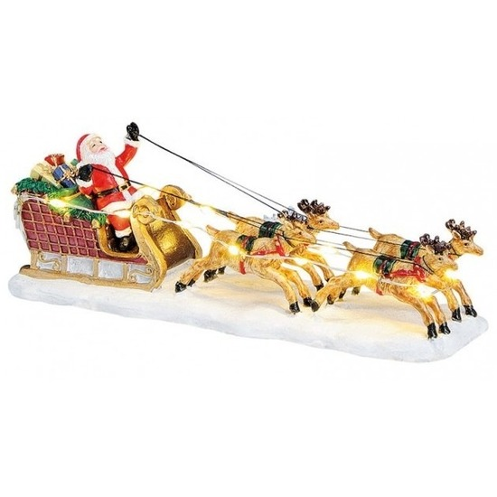 Kerstbeeldjes-kerstbeelden kerstman in slee met licht 17 cm kerstdecoratie