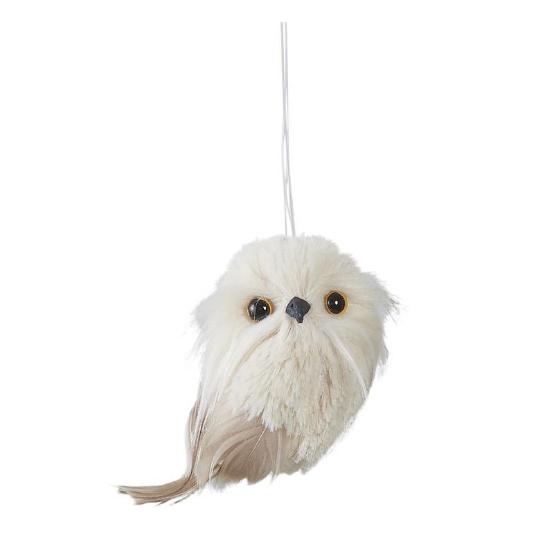 Kerstboomversiering 1x witte uilen kersthangers 9 cm