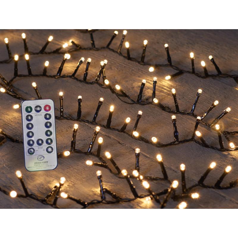 Kerstverlichting met afstandsbediening warm wit buiten 500 lampjes