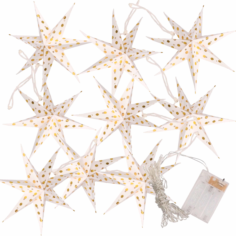 Kerstverlichting op batterijen lichtsnoer met witte papieren sterren 250 cm