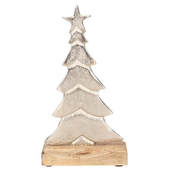 Kerstversiering-decoratie aluminium kerstboom 24 cm