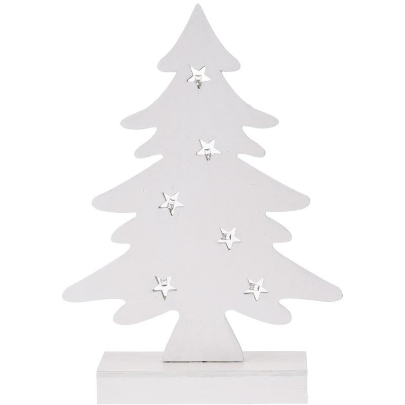 Kerstversiering witte houten mini kunst kerstboom 28 cm met verlichting