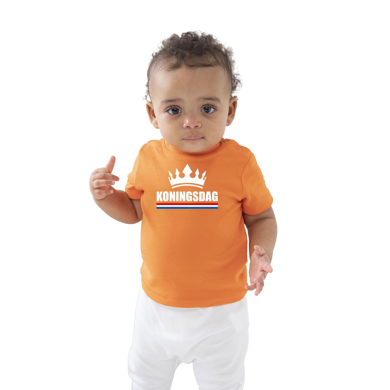 Koningsdag met kroon t-shirt oranje baby-peuter voor jongens en meisjes