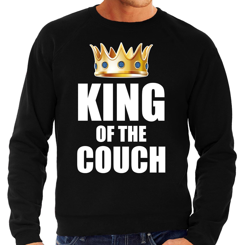 Koningsdag sweater king of the couch zwart voor heren