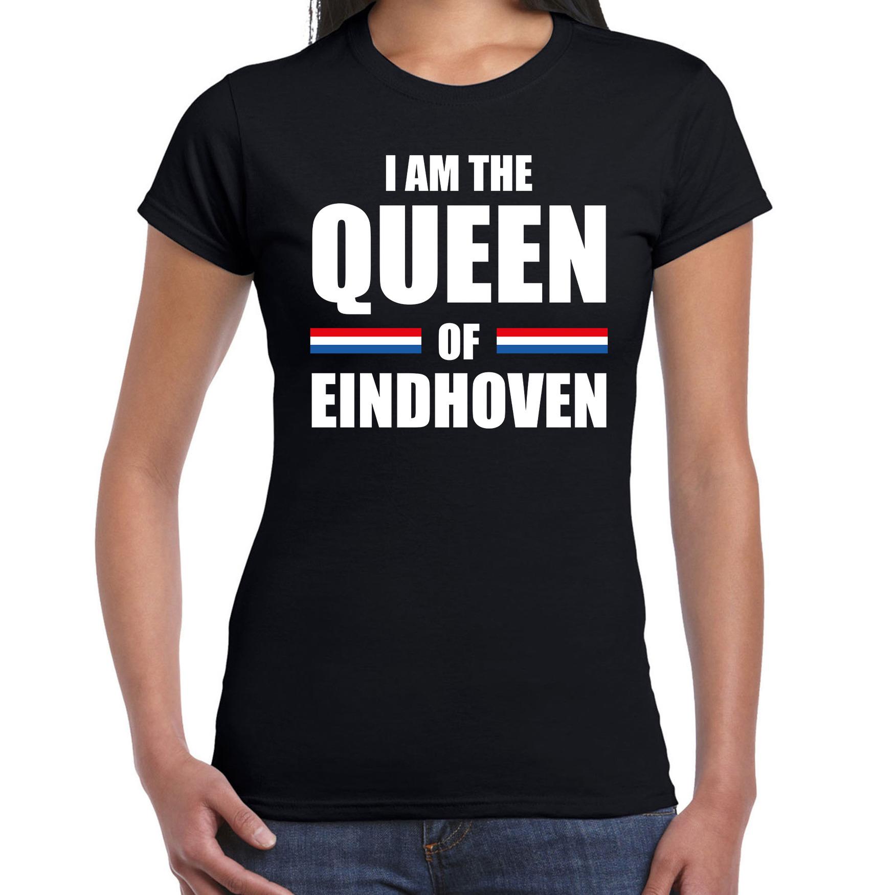 Koningsdag t-shirt I am the Queen of Eindhoven zwart voor dames
