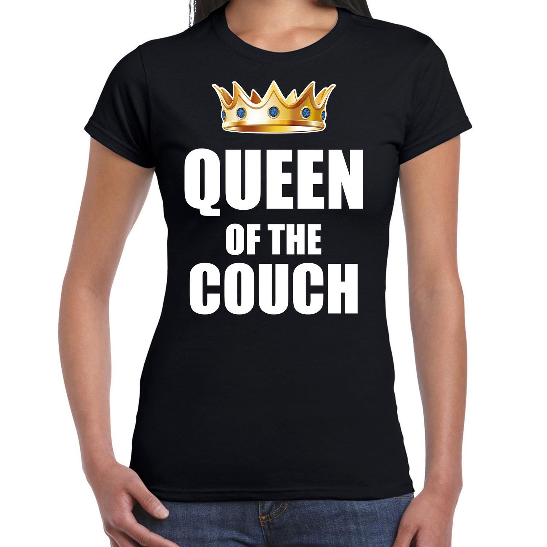 Koningsdag t-shirt queen of the couch zwart voor dames