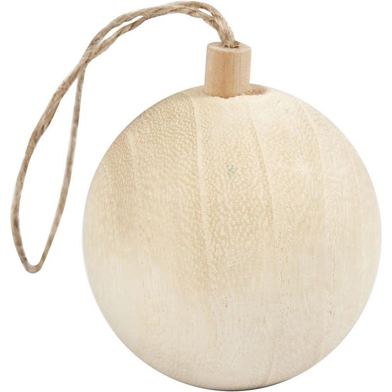 Licht houten kerstboom bal versiering 6,4 cm