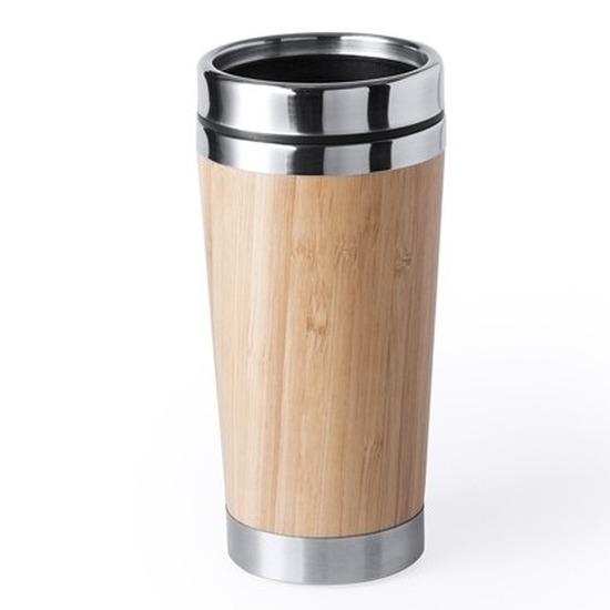 Luxe bamboe-RVS reis beker voor koffie of thee 500 ml