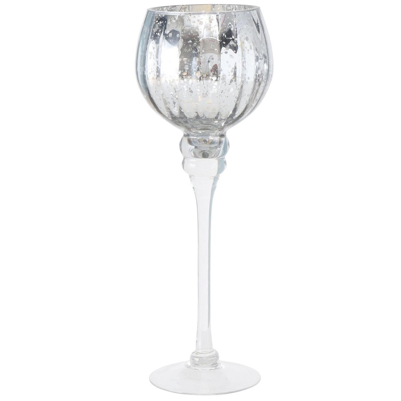 Luxe glazen design kaarsenhouder-windlicht metallic zilver transparant 30 cm