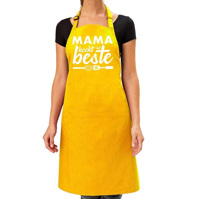 Mama kookt het beste keukenschort geel voor dames-Moederdag