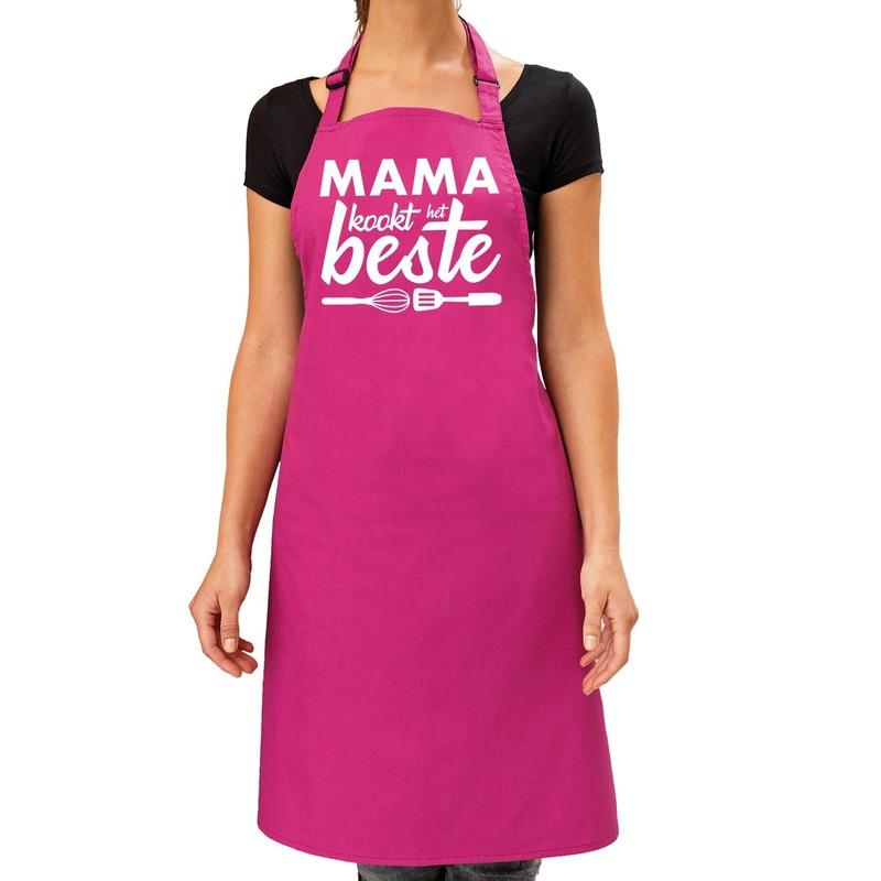 Mama kookt het beste keukenschort roze voor dames-Moederdag