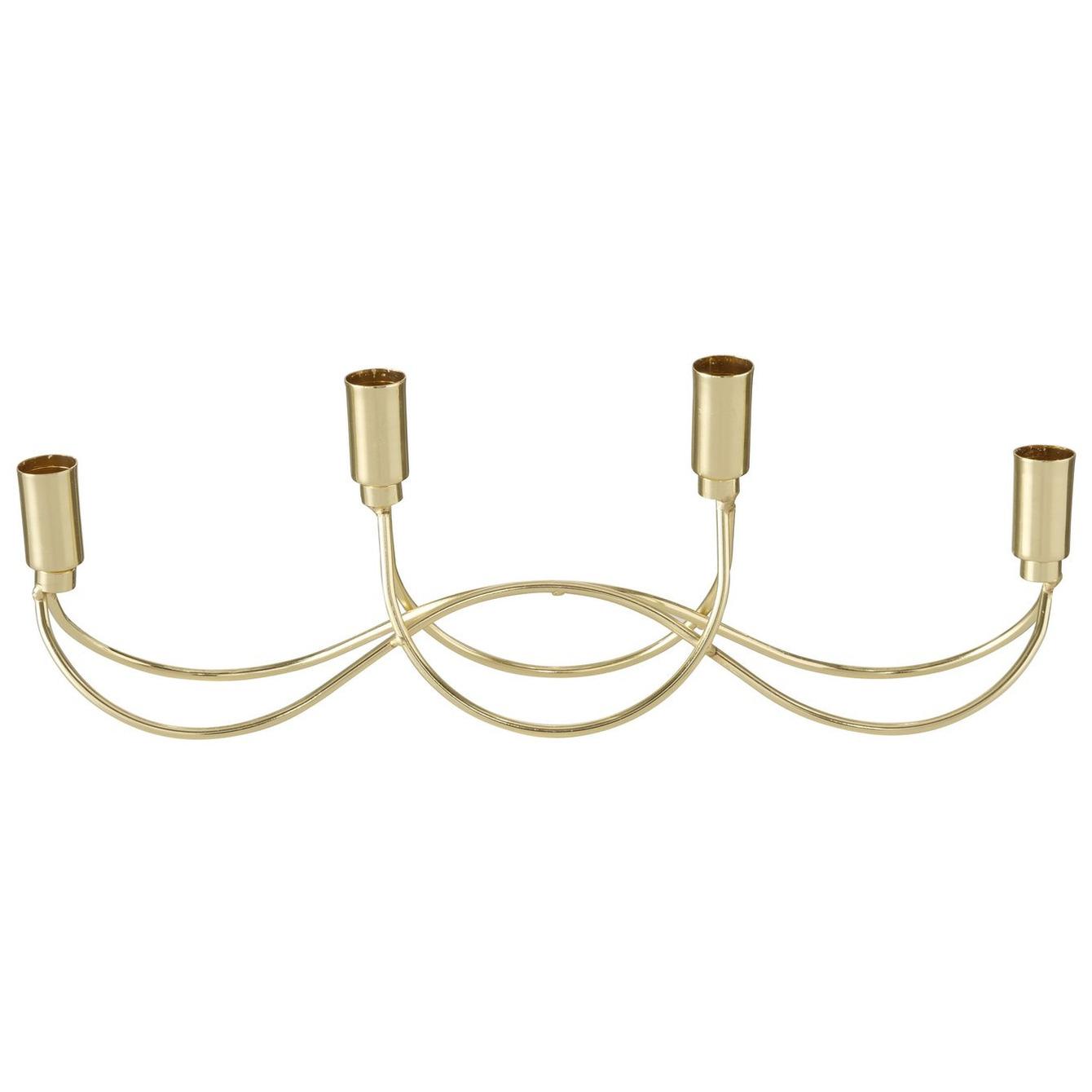 Metalen design kaarsenhouder champagne goud 39 x 7 x 13 cm