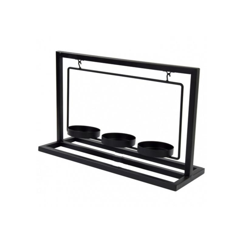 Metalen theelichthouder-waxinelichthouder 30 cm voor 3 theelichtjes