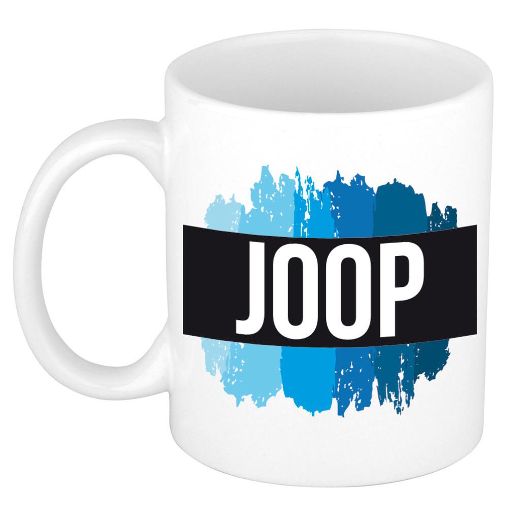 Naam cadeau mok-beker Joop met blauwe verfstrepen 300 ml