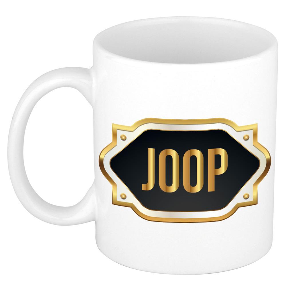 Naam cadeau mok-beker Joop met gouden embleem 300 ml
