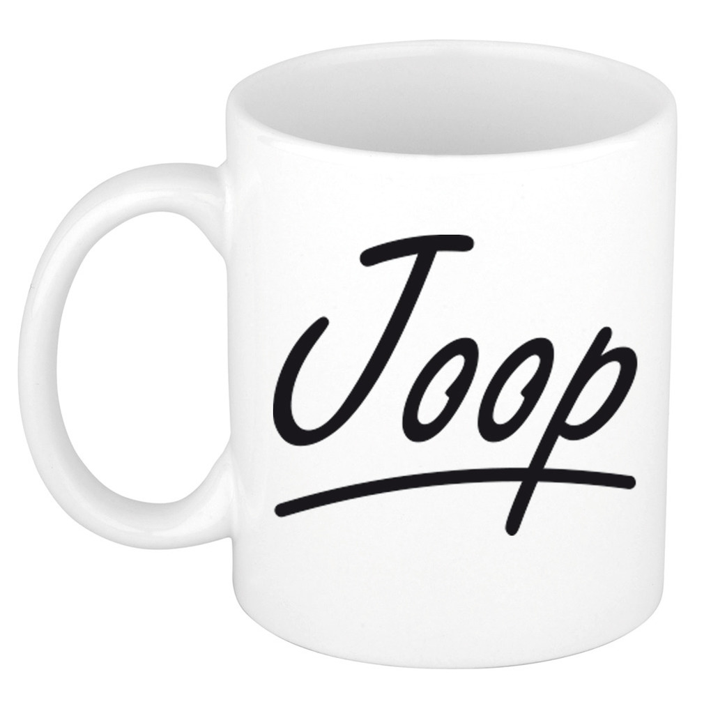 Naam cadeau mok-beker Joop met sierlijke letters 300 ml
