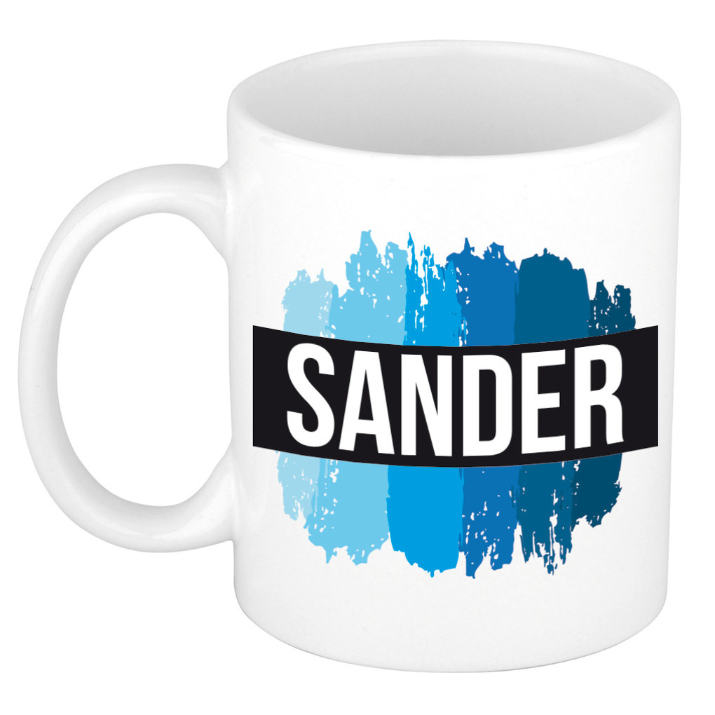 Naam cadeau mok-beker Sander met blauwe verfstrepen 300 ml