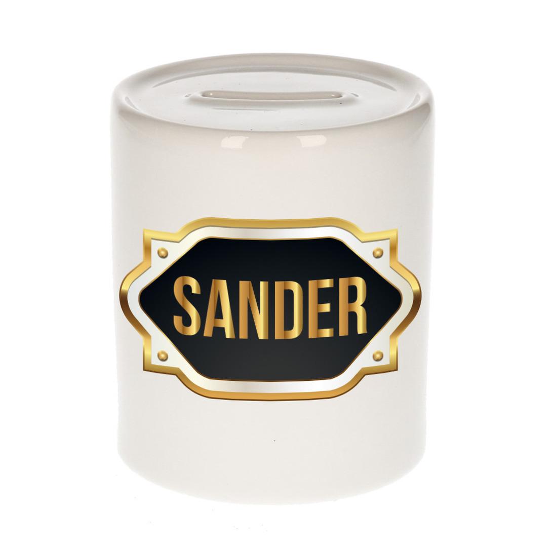 Naam cadeau spaarpot Sander met gouden embleem