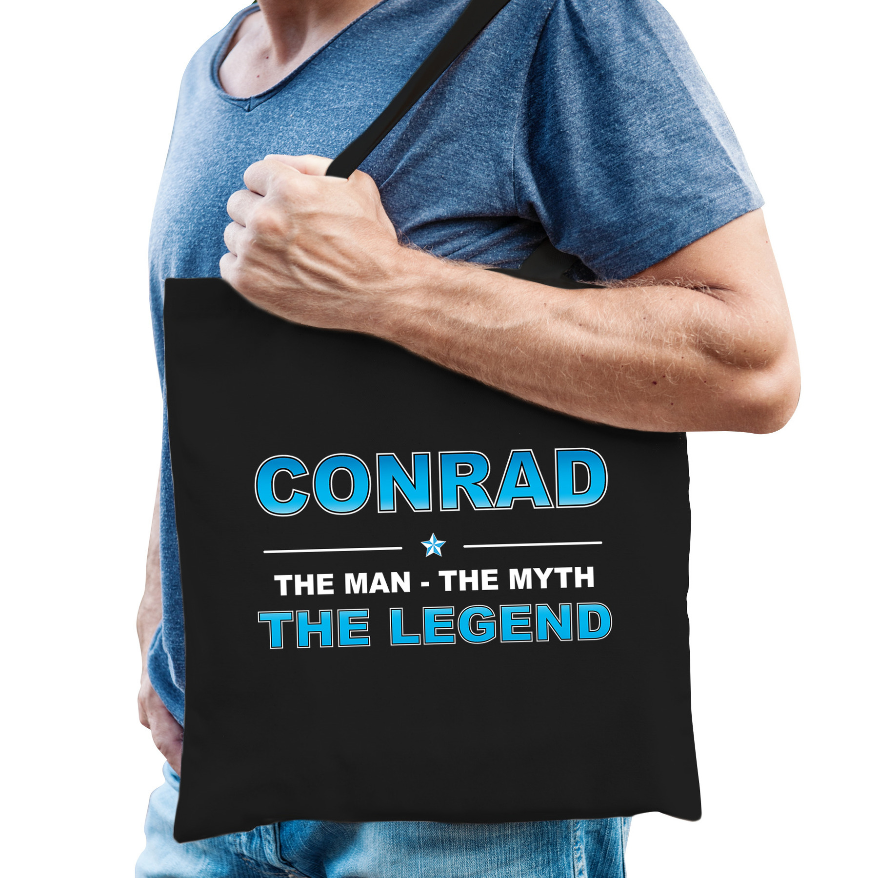 Naam cadeau tas Conrad the legend zwart voor heren