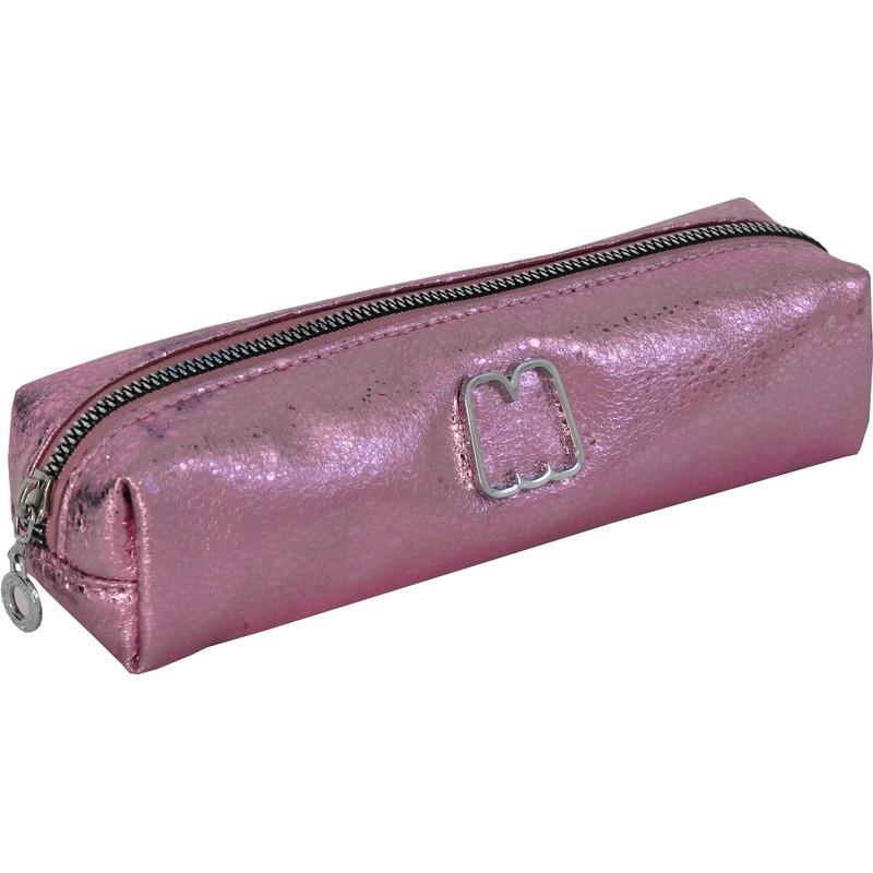 Nep lederen etui roze metallic 22 cm potloden-pennen opbergen