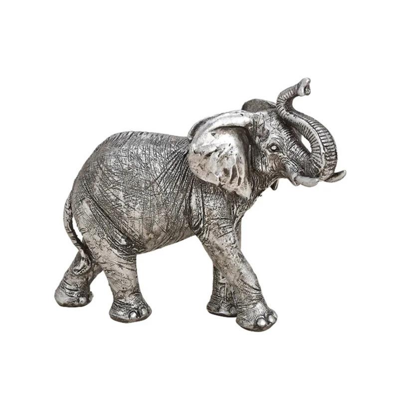 Olifant woondecoratie dieren beeldje zilver 21 x 17 x 7 cm
