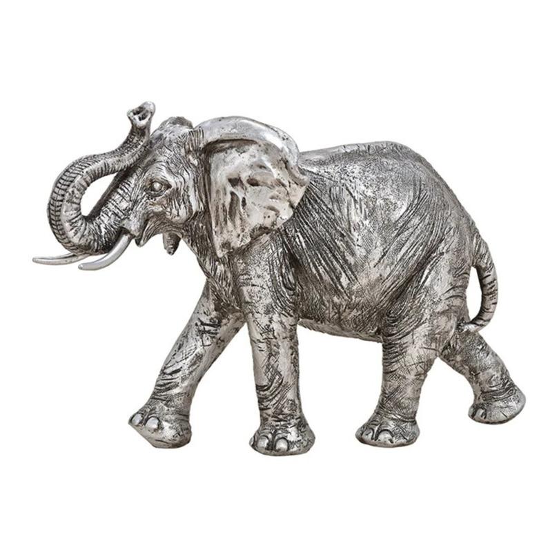 Olifant woondecoratie dieren beeldje zilver 28 x 19 x 10 cm