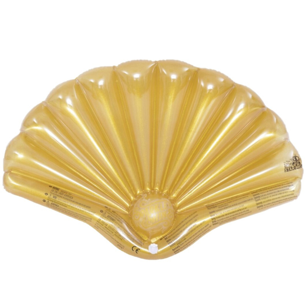 Opblaasbare zwembad luchtbed matras gouden schelp van 108 x 70 cm