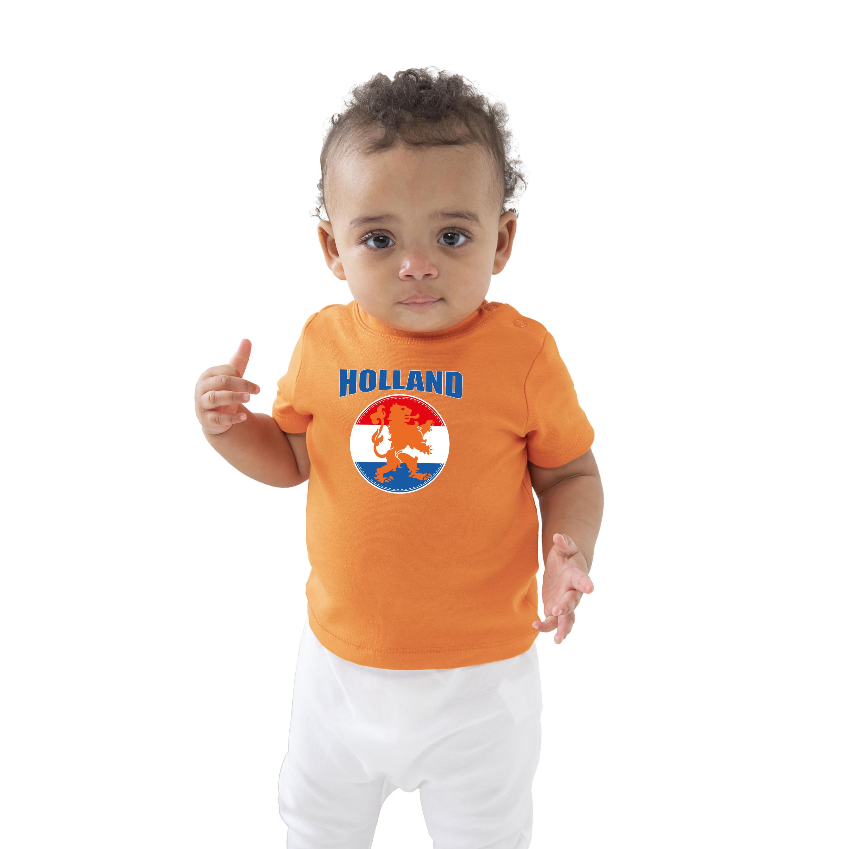Oranje t-shirt Holland met oranje leeuw Nederland supporter voor baby-peuter