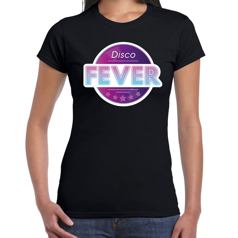 Party 70s-80s-90s feest shirt met disco thema voor dames