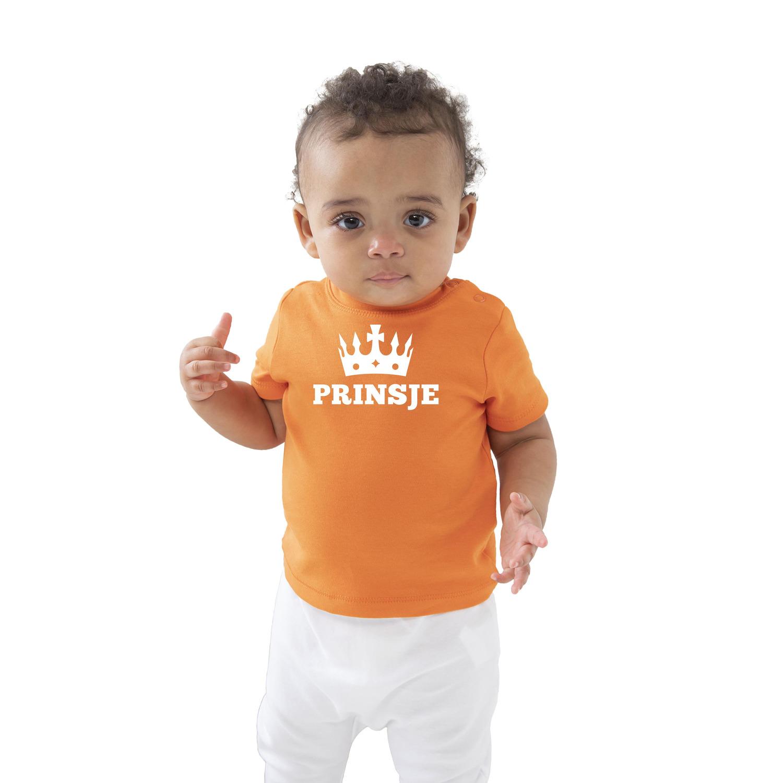 Prinsje met kroon Koningsdag t-shirt oranje baby-peuter voor jongens