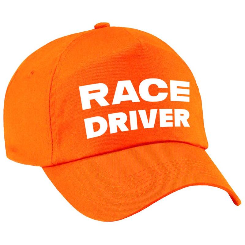 Race driver-auto coureur verkleed pet oranje voor volwassenen