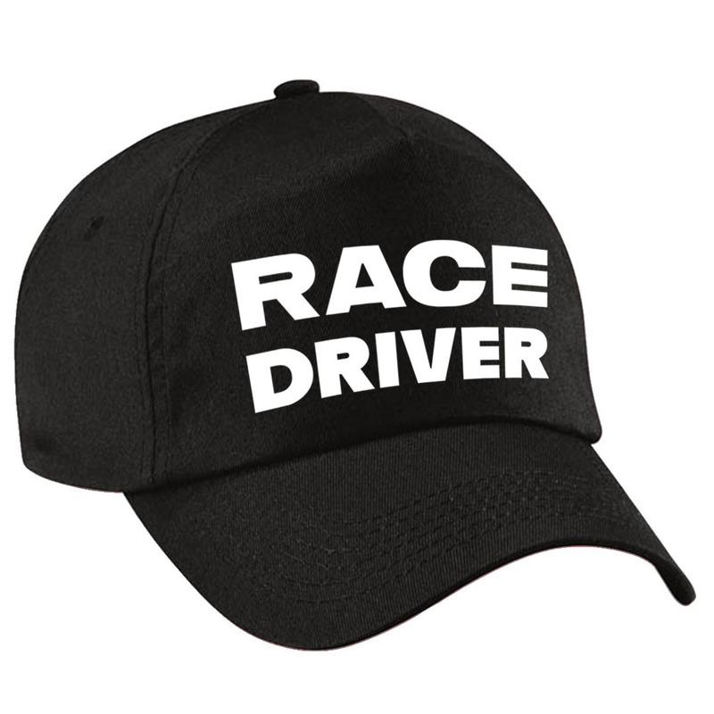 Race driver-auto coureur verkleed pet zwart voor volwassenen