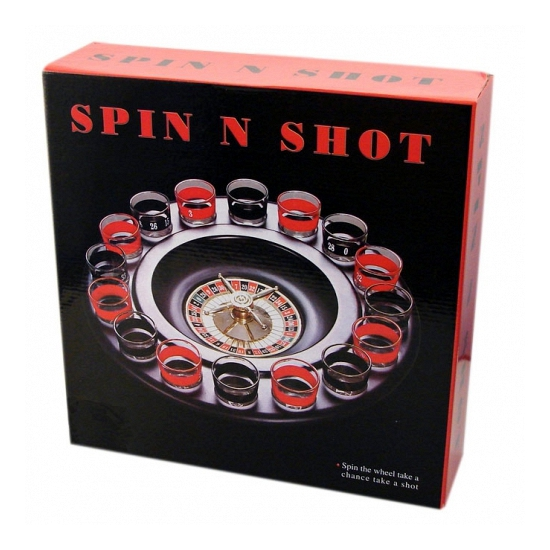 Roulette spel met shotglaasjes