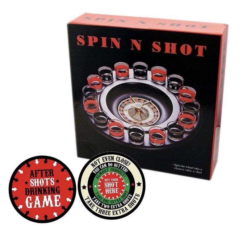 Roulette spel met shotglaasjesmet after shots bierviltjes 10x