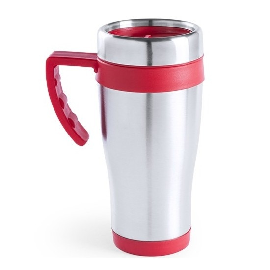 RVS thermosbeker-warm houd beker rood 500 ml