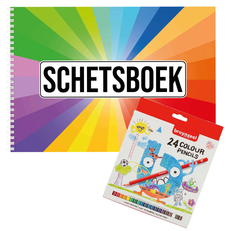 Schetsboek Kleurenwaaier thema A4 50 paginas met 24 potloden