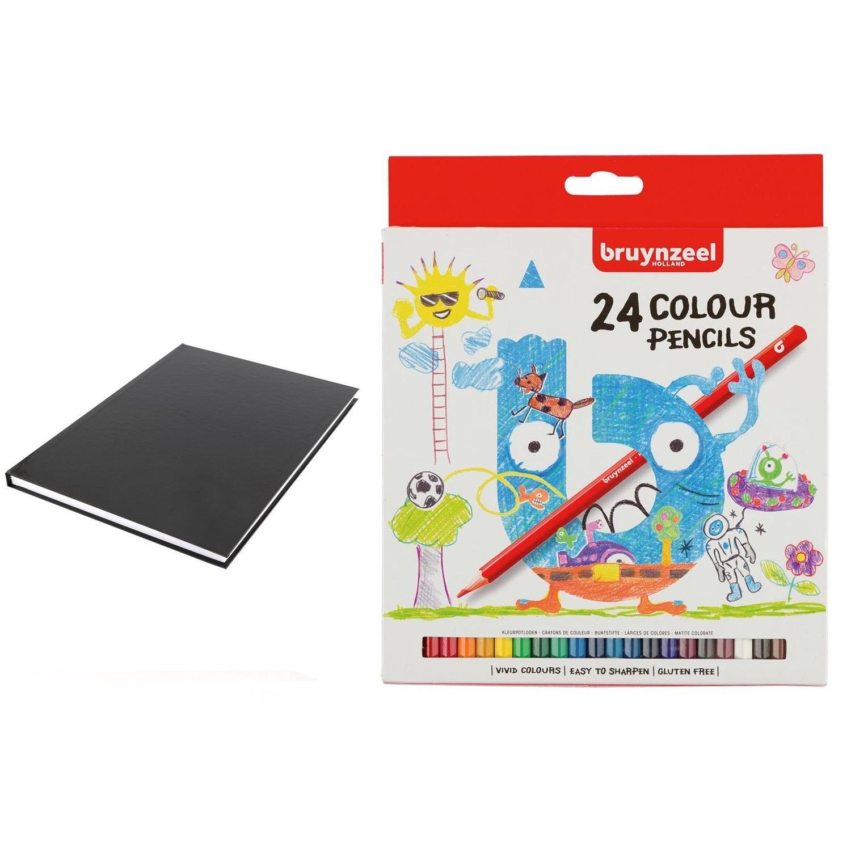 Schetsboek-tekenboek zwart A4 formaat 80 vellen met 24 kleurpotloden