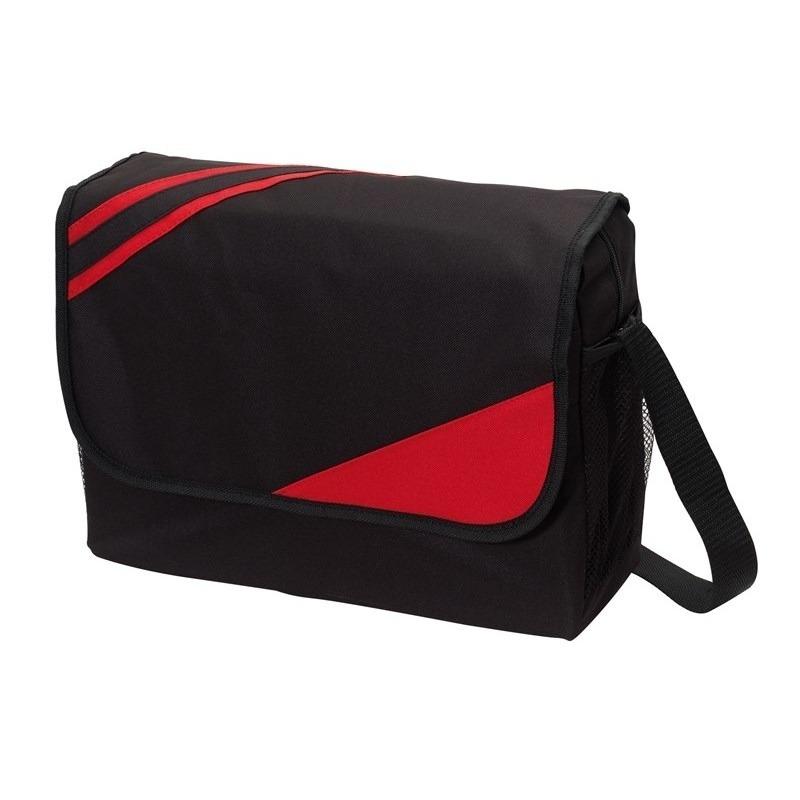 Schooltas zwart-rood 39 x 28 x 11 cm