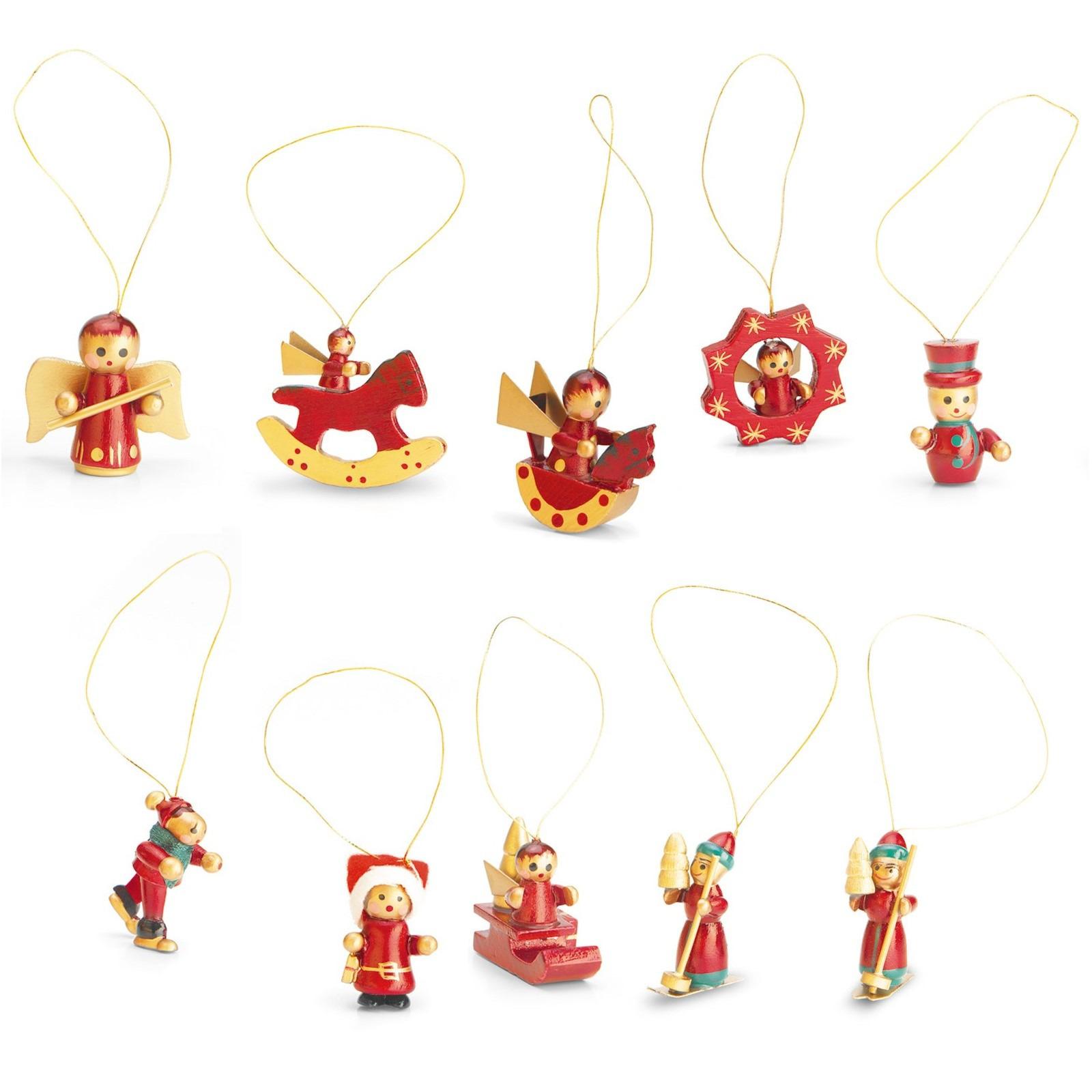 Set met 12 houten kerstboomhangers