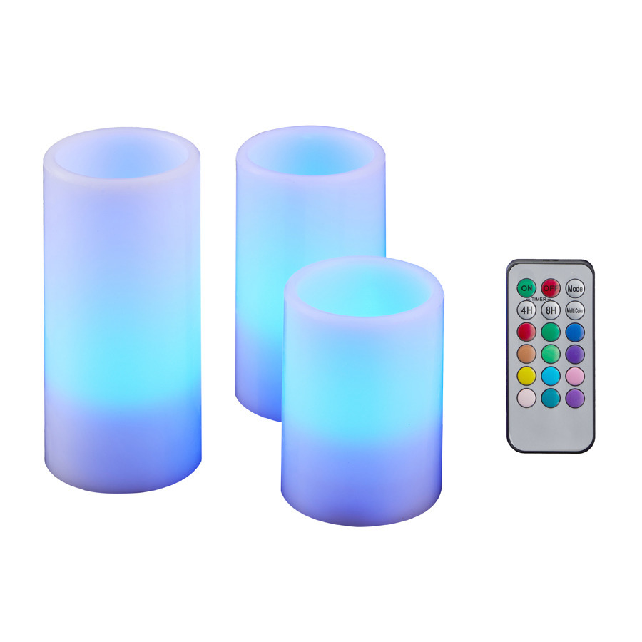 Set van 4x LED kaarsen color changing met afstandsbediening