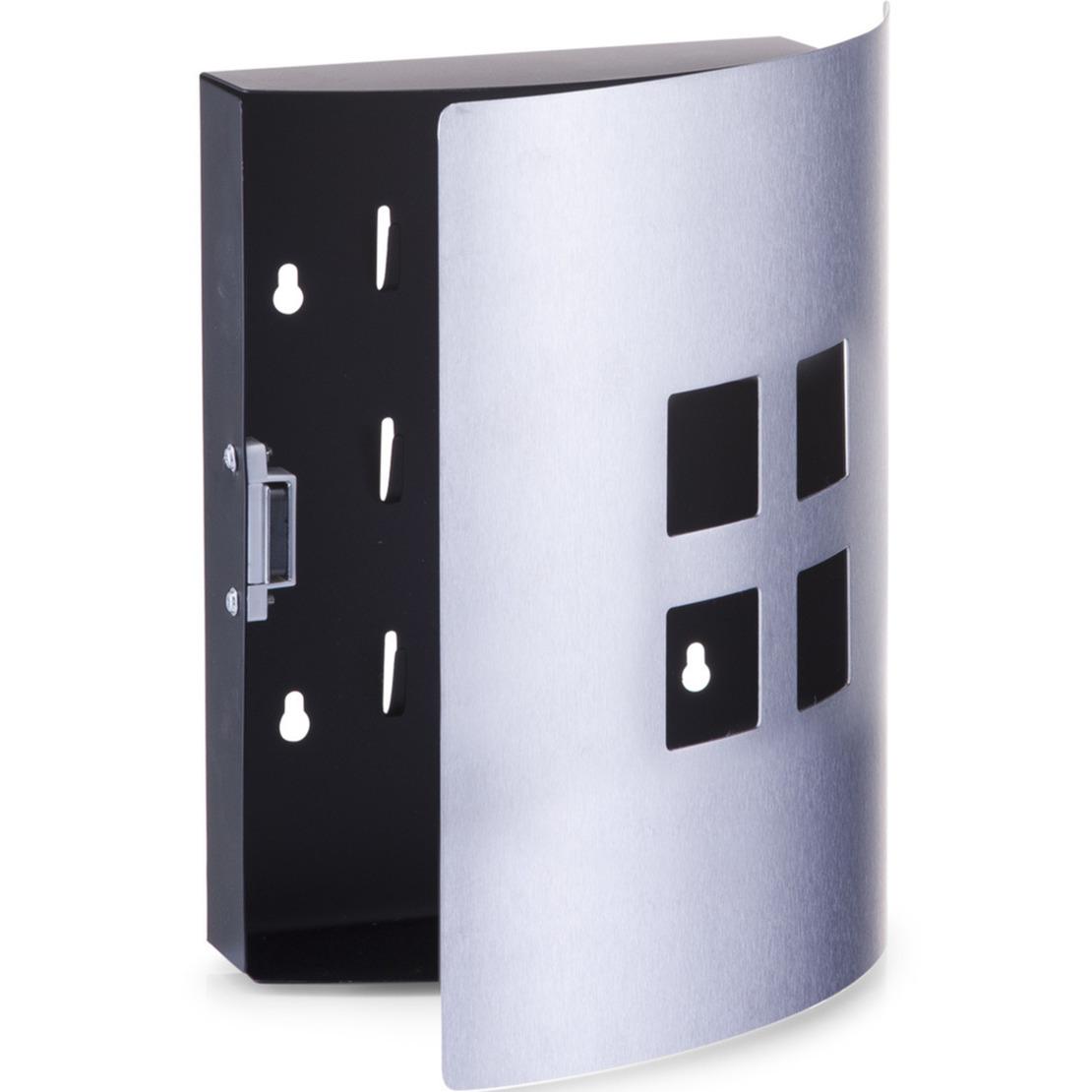 Sleutelkast voor 9 sleutels zwart met zilver 22 x 24 cm