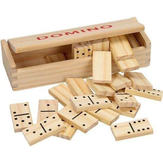 Speelgoed houten domino spel in kistje 28x steentjes