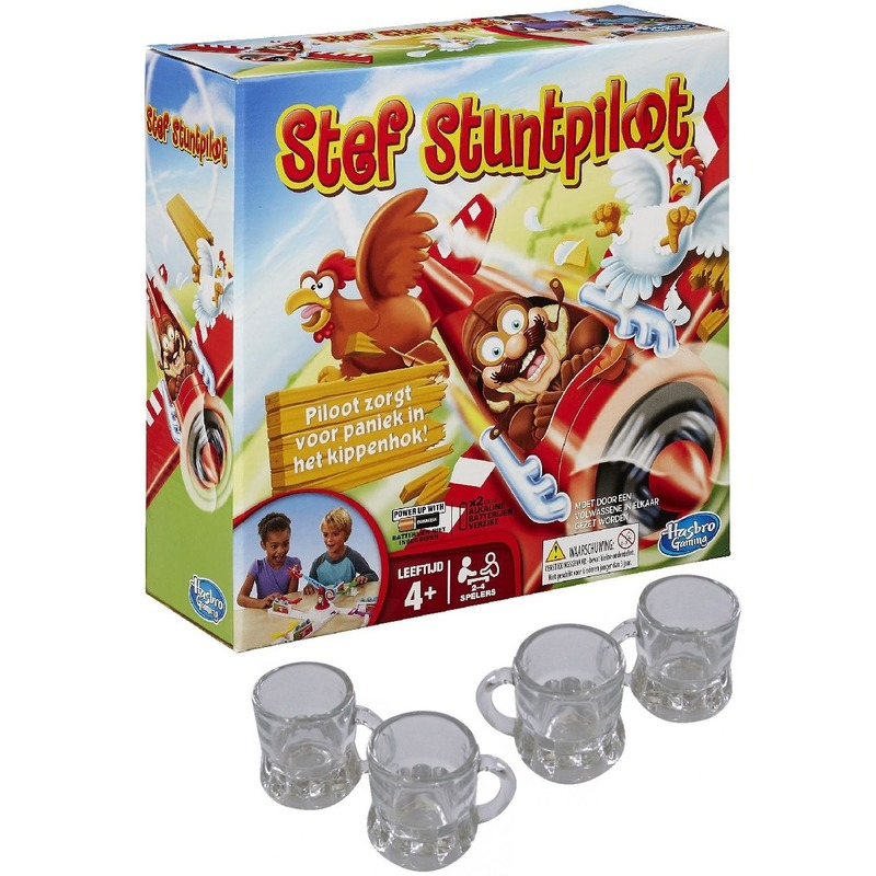 Stef de Stuntpiloot drankspel-zuipspel-drinkspel 2-4 spelers met 4x shotglaasjes