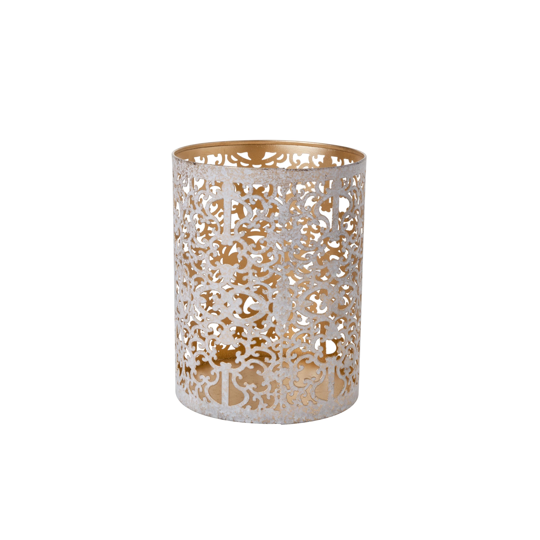 Theelichthouders-waxinelichthouders goud-white wash 13 cm