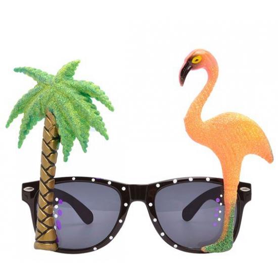 Tropische carnaval verkleed party bril met flamingo en palmboom