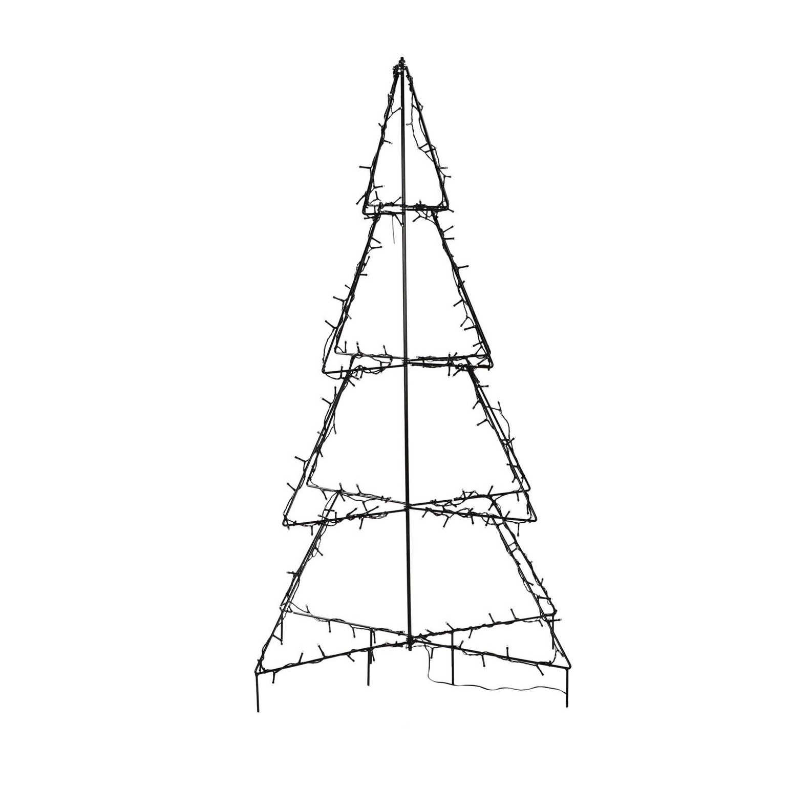 Verlichte figuren zwarte lichtboom-metalen boom-kerstboom met 160 led lichtjes 126 cm