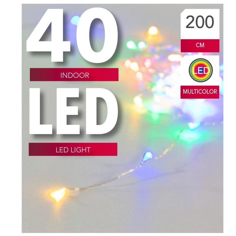 Verlichting lichtdraad zilver 40 pastel gekleurde lampjes op batterijen 200 cm