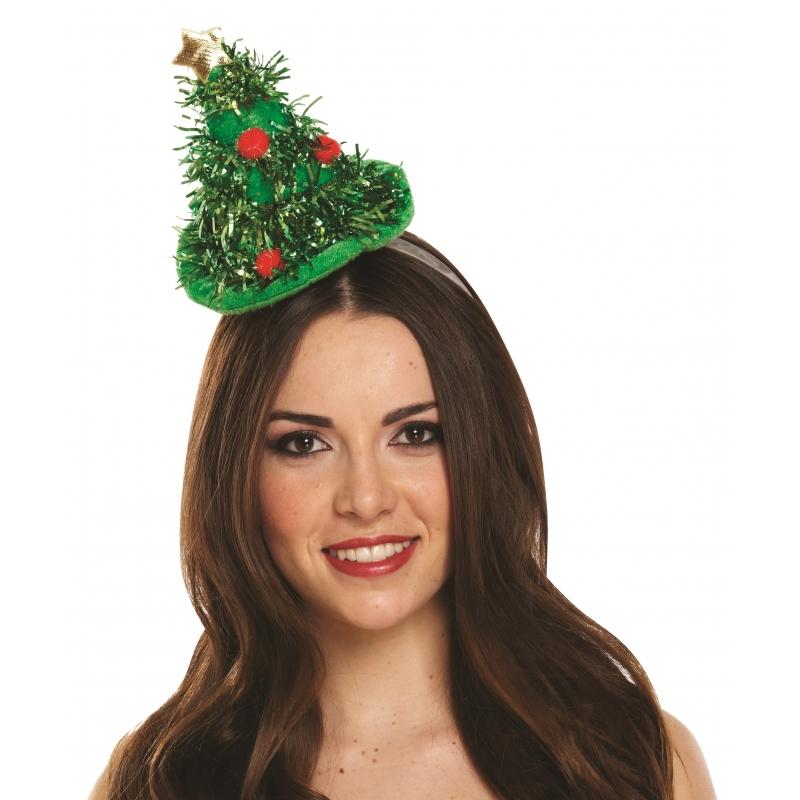Versierde kerstboom diadeem groen